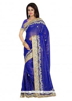 Intrinsic Blue Embroidered Work Shimmer Georgette Designer Traditional Sarees