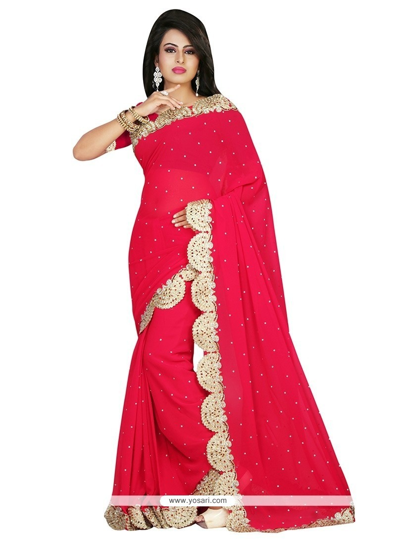 Aesthetic Georgette Embroidered Work Classic Saree