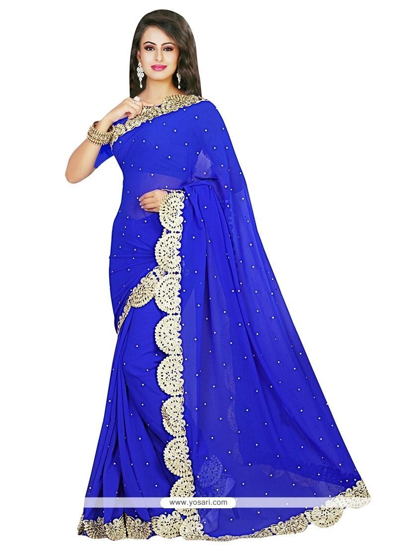 Monumental Blue Classic Designer Saree
