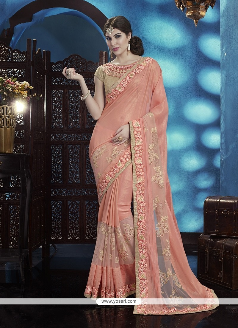 Gilded Embroidered Work Peach Designer Traditional Sarees