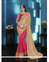 Mystic Embroidered Work Rose Pink Georgette Classic Saree