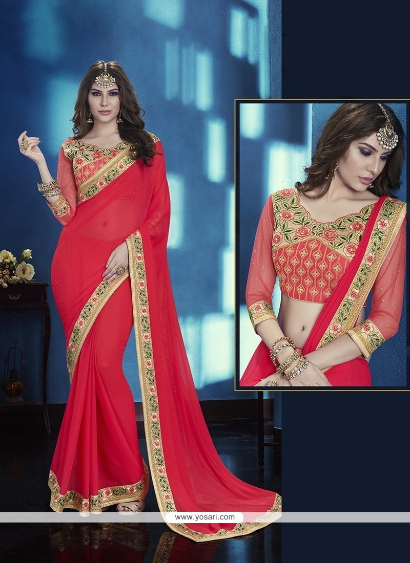 Dignified Red Faux Chiffon Classic Designer Saree