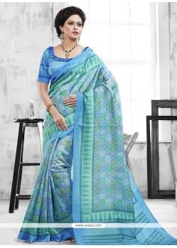 Exquisite Blue Print Work Casual Saree