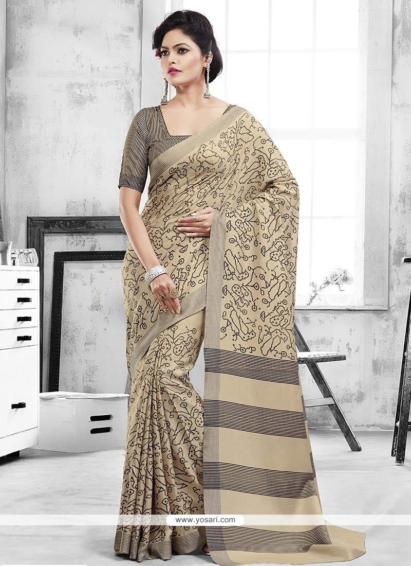 Aesthetic Art Silk Beige Casual Saree