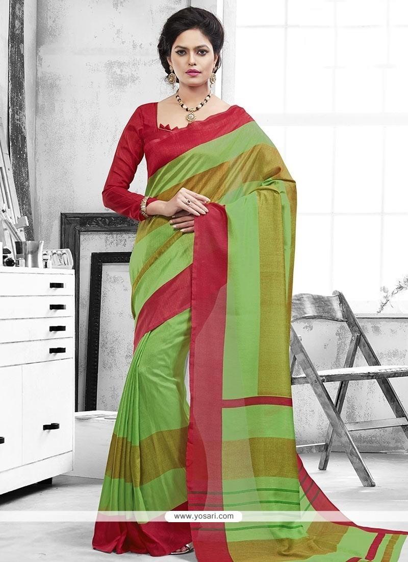 Ruritanian Green Art Silk Casual Saree