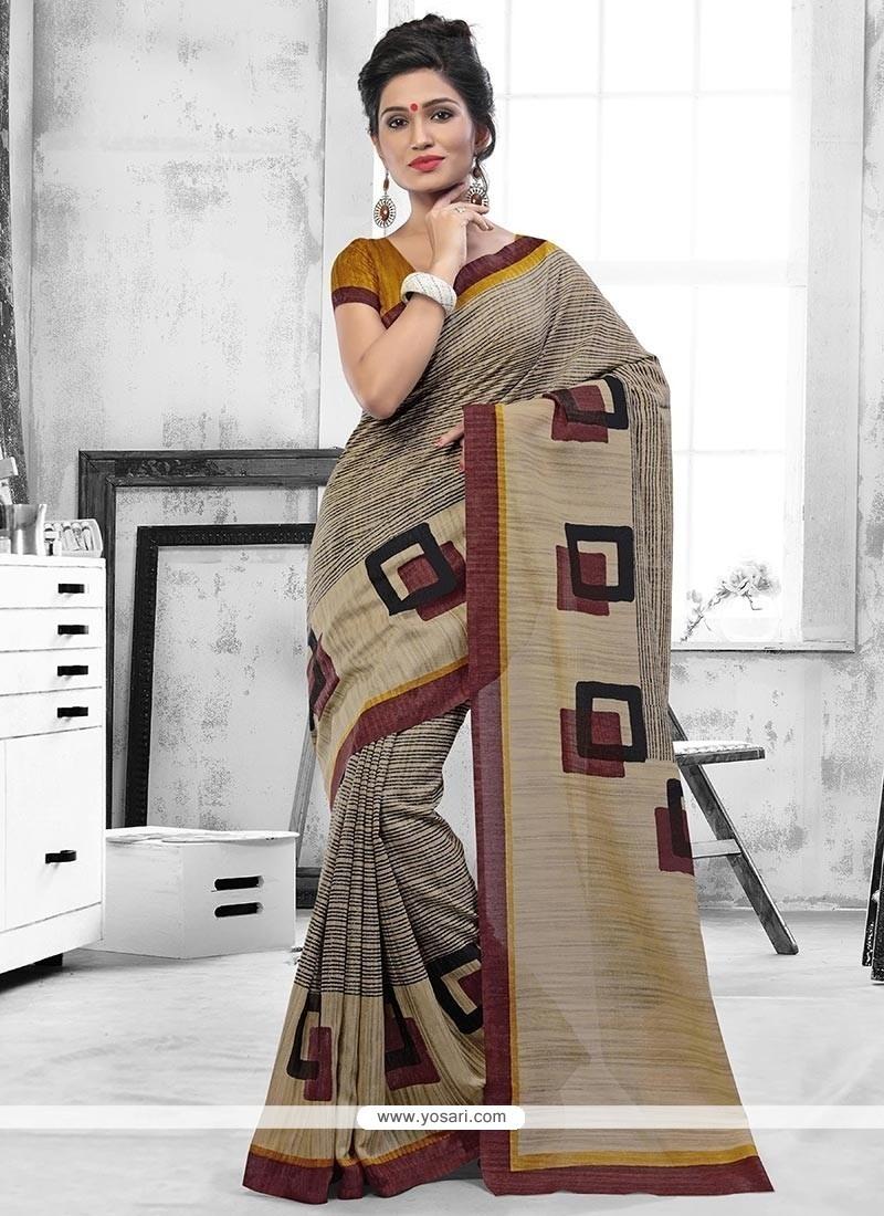 Charming Art Silk Beige Casual Saree
