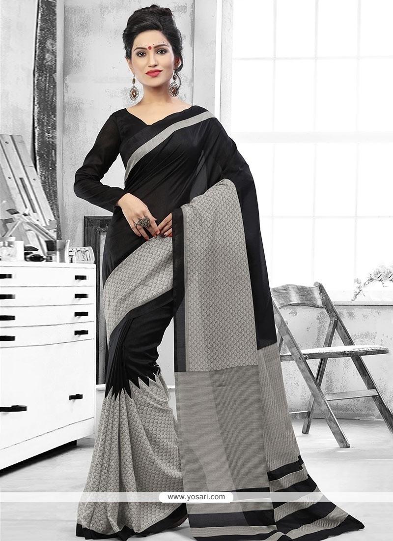 Honourable Print Work Art Silk Casual Saree