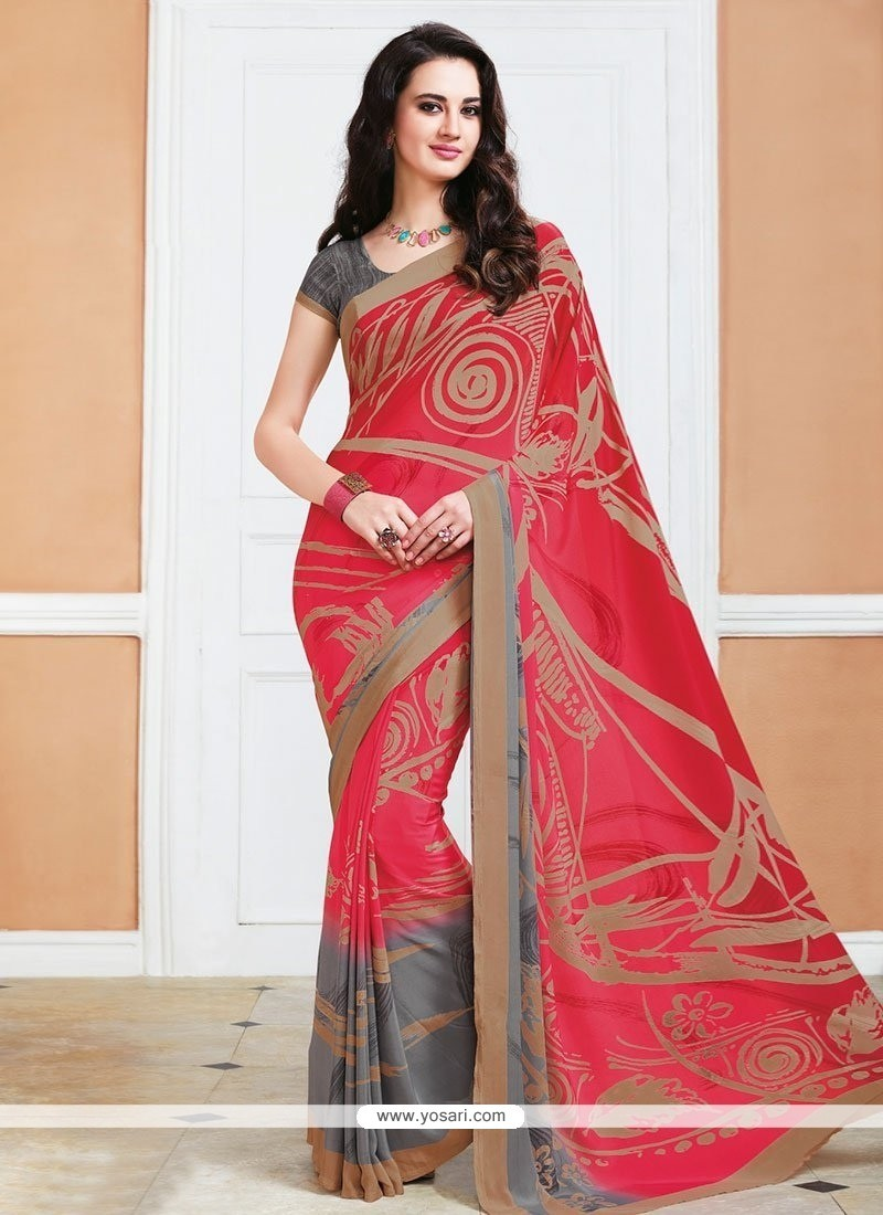 Gleaming Multi Colour Crepe Silk Printed Saree