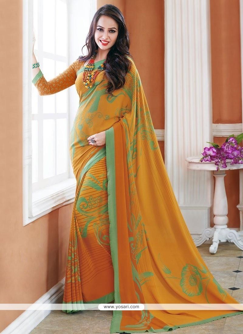 Majesty Multi Colour Print Work Crepe Silk Printed Saree
