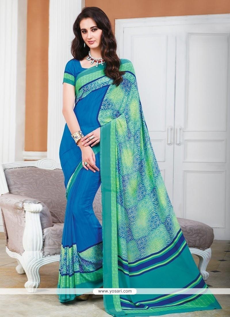 Sonorous Blue Crepe Silk Printed Saree