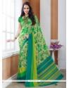 Fetching Crepe Silk Green Printed Saree