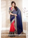 Blue And Pink Brasso Georgette Saree