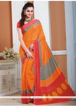 Print Crepe Silk Casual Saree In Orange