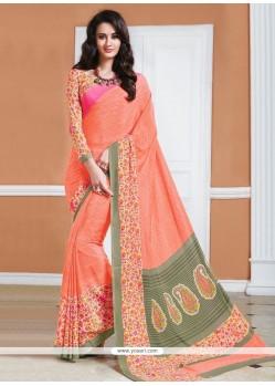 Attractive Crepe Silk Print Work Casual Saree