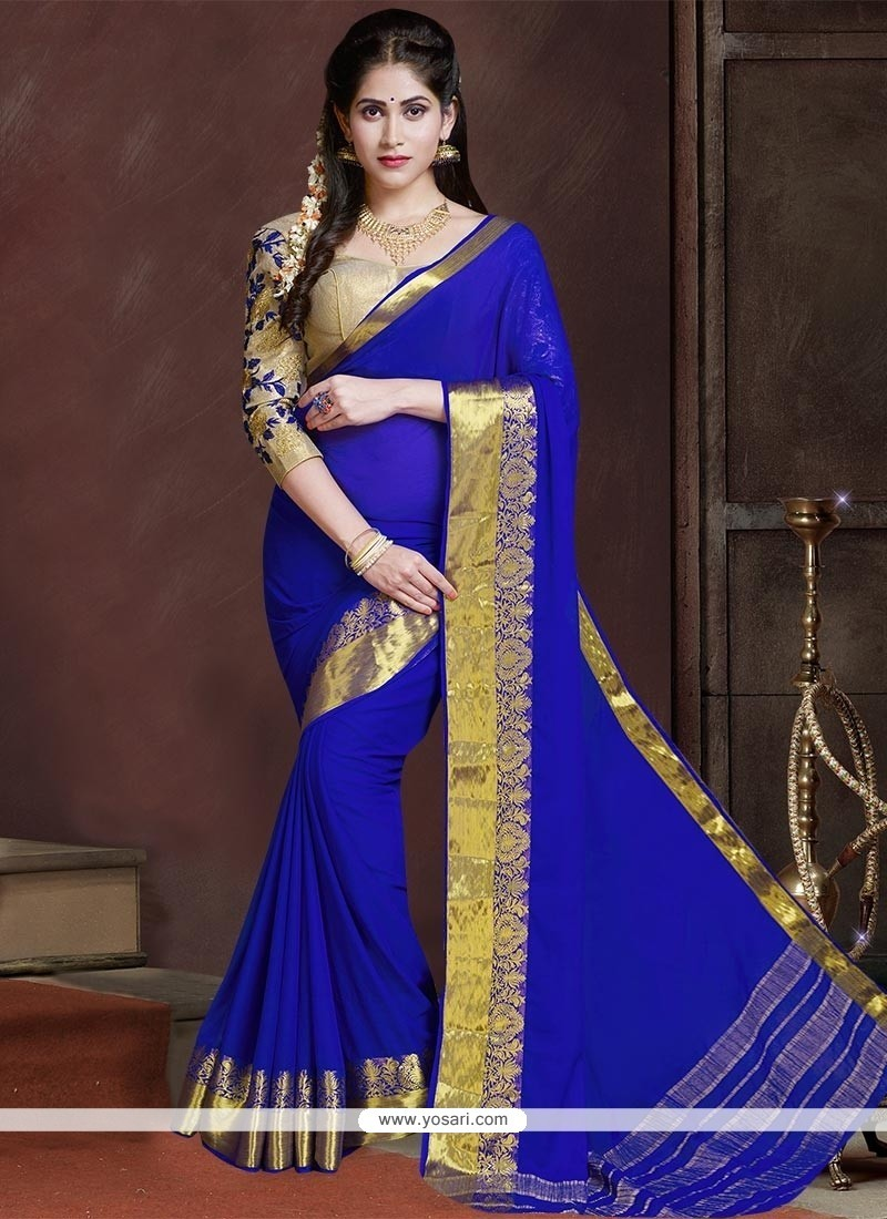Cute Blue Georgette Classic Saree