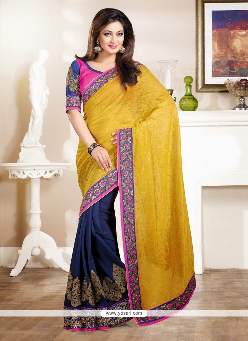 Musterd And Blue Shaded Georgette Saree