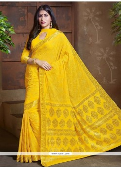 Imperial Yellow Faux Chiffon Classic Saree