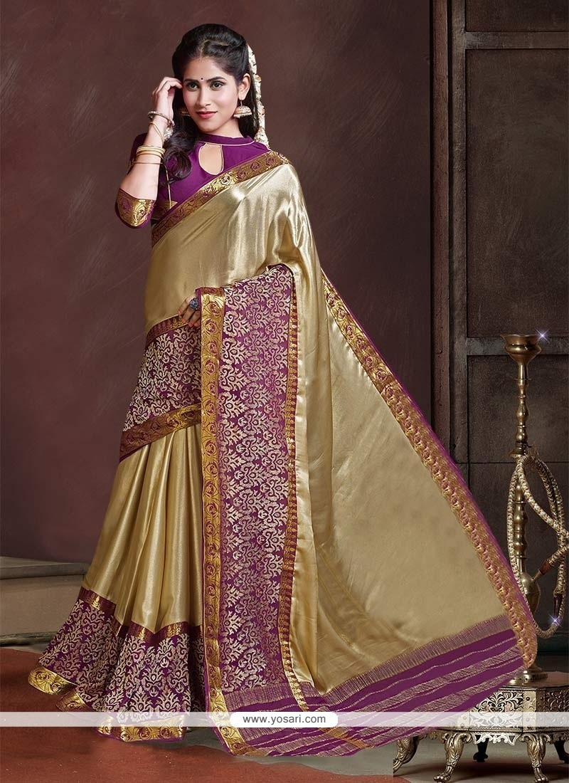 Exquisite Shimmer Georgette Gold Patch Border Work Classic Designer Saree