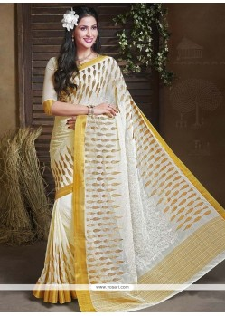 Dilettante Faux Chiffon Embroidered Work Trendy Saree