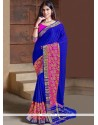 Sonorous Faux Chiffon Blue Traditional Saree