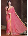 Gratifying Georgette Pink Traditional Saree