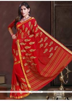 Lavish Faux Chiffon Embroidered Work Designer Traditional Sarees
