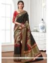 Floral Raw Silk Black Designer Saree