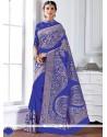 Vivacious Blue Patch Border Work Designer Saree