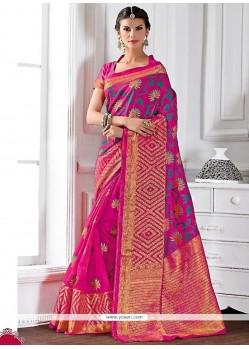 Sumptuous Raw Silk Patch Border Work Designer Saree