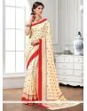 Lavish Raw Silk Cream Designer Saree