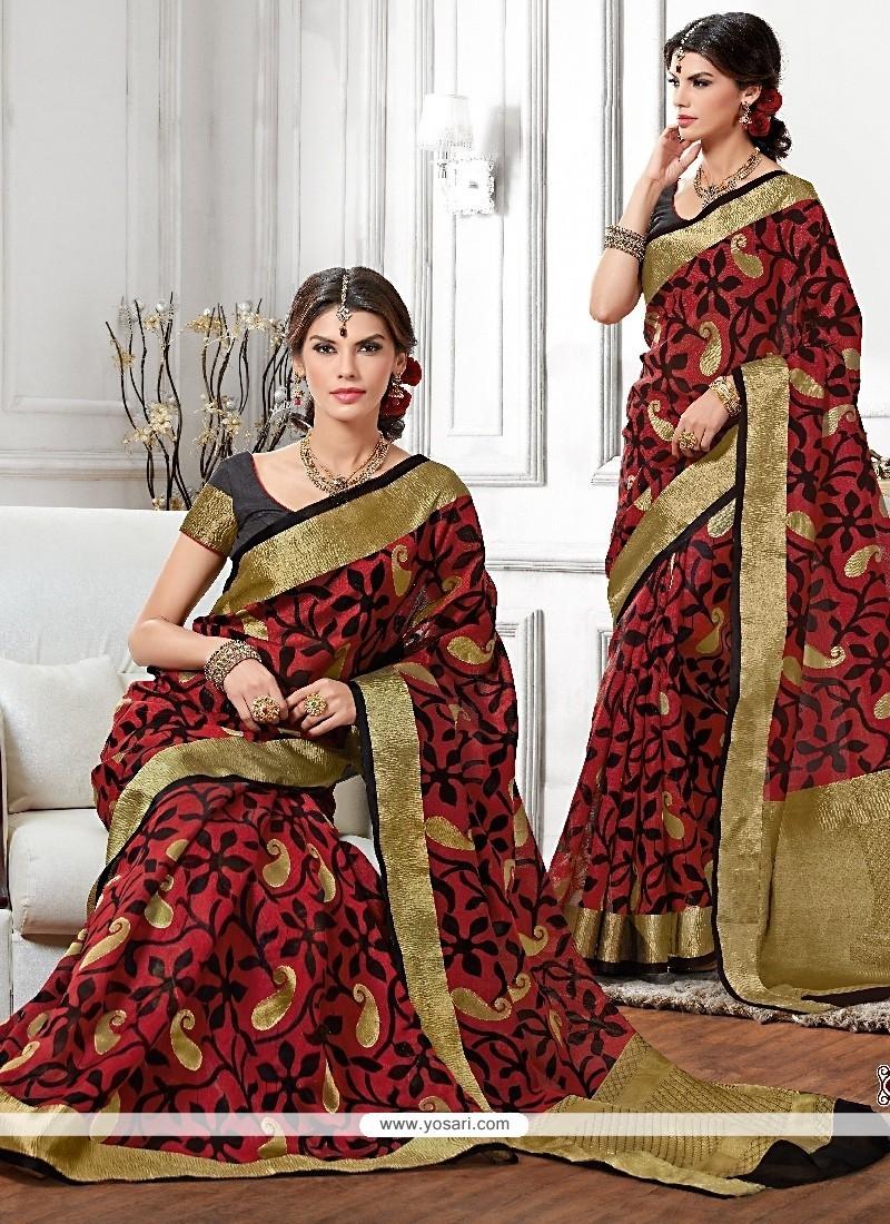 Striking Raw Silk Patch Border Work Designer Saree