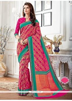 Dignified Patch Border Work Raw Silk Designer Saree