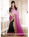 Charming Violet And Black Chiffon Saree