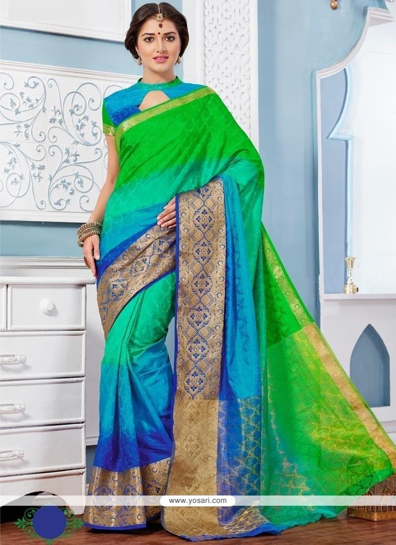 Immaculate Patch Border Work Multi Colour Designer Saree