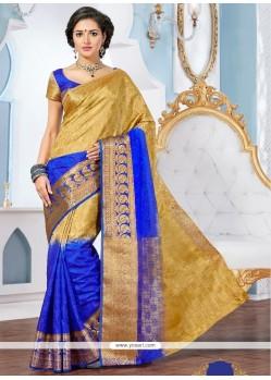 Patch Border Jacquard Designer Saree In Multi Colour