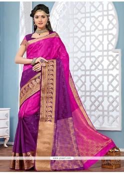 Attractive Jacquard Patch Border Work Designer Saree