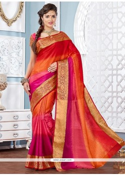Opulent Jacquard Multi Colour Patch Border Work Designer Saree