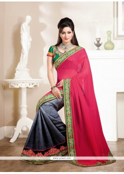 Magenta And Grey Georgette Saree