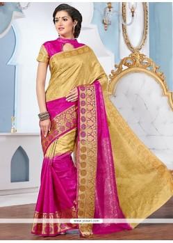 Glossy Jacquard Patch Border Work Designer Saree