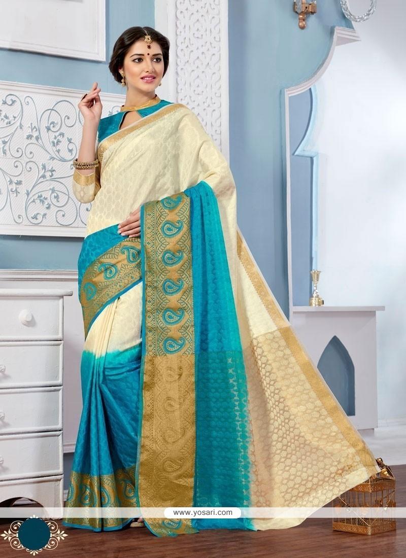 Invigorating Patch Border Work Multi Colour Jacquard Designer Saree