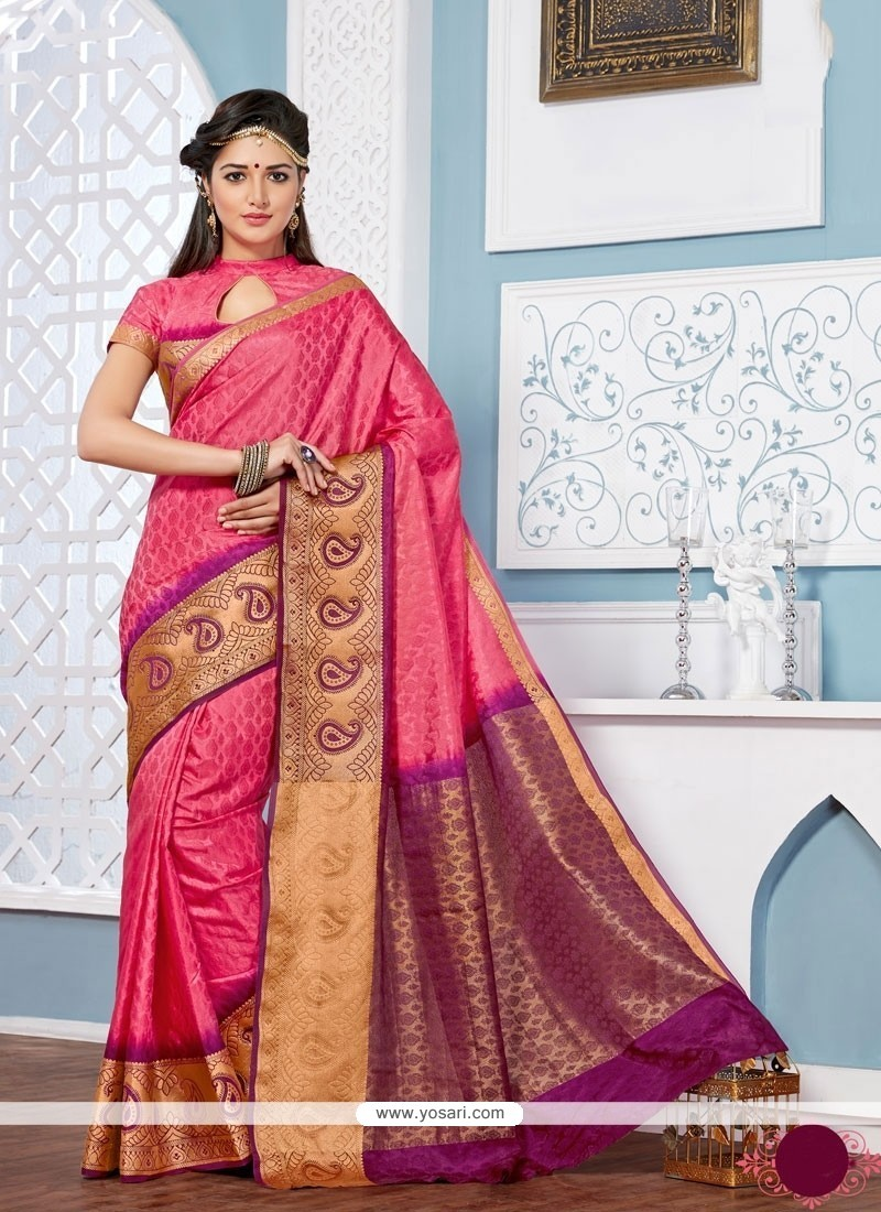 Lovable Patch Border Work Multi Colour Jacquard Designer Saree