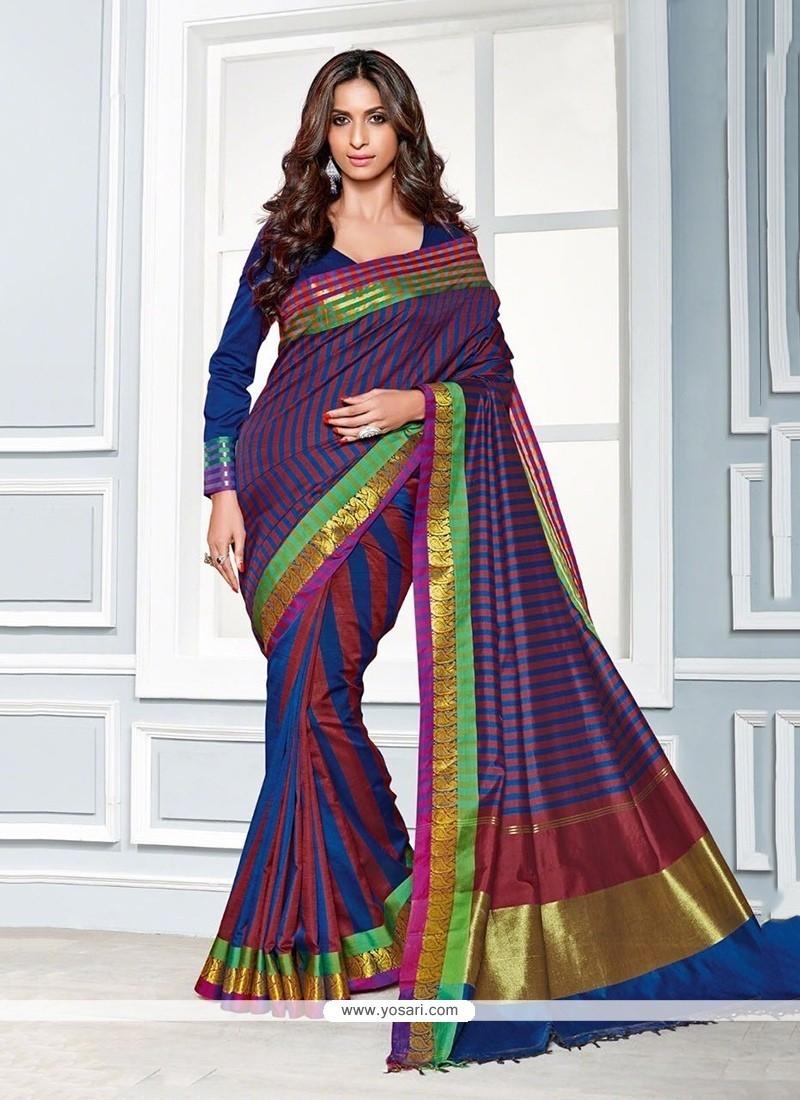 Deserving Multi Colour Patch Border Work Cotton Classic Saree