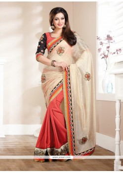 Fab Cream And Rust Georgette Saree