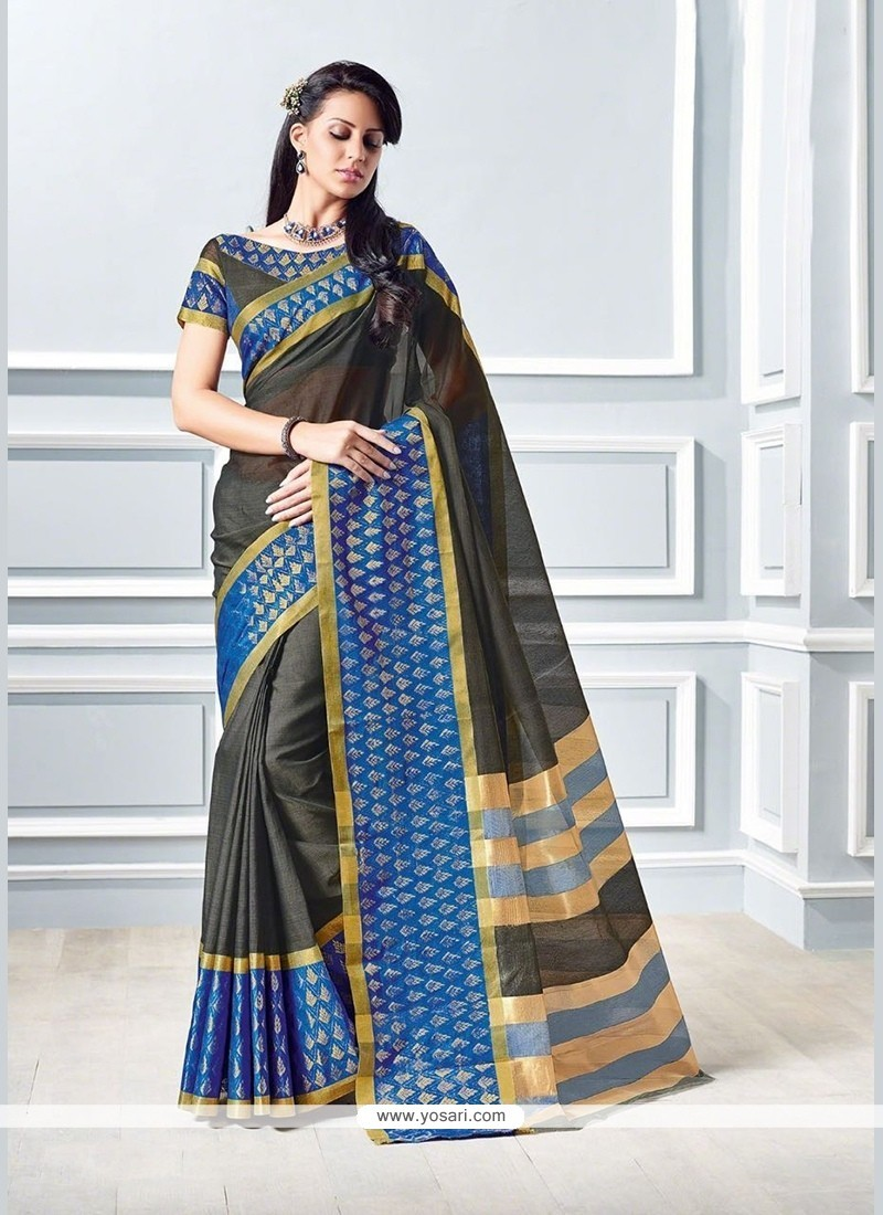 Patch Border Cotton Trendy Saree In Black