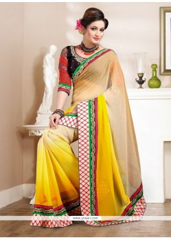 Glorious Cream And Yellow Chiffon Saree