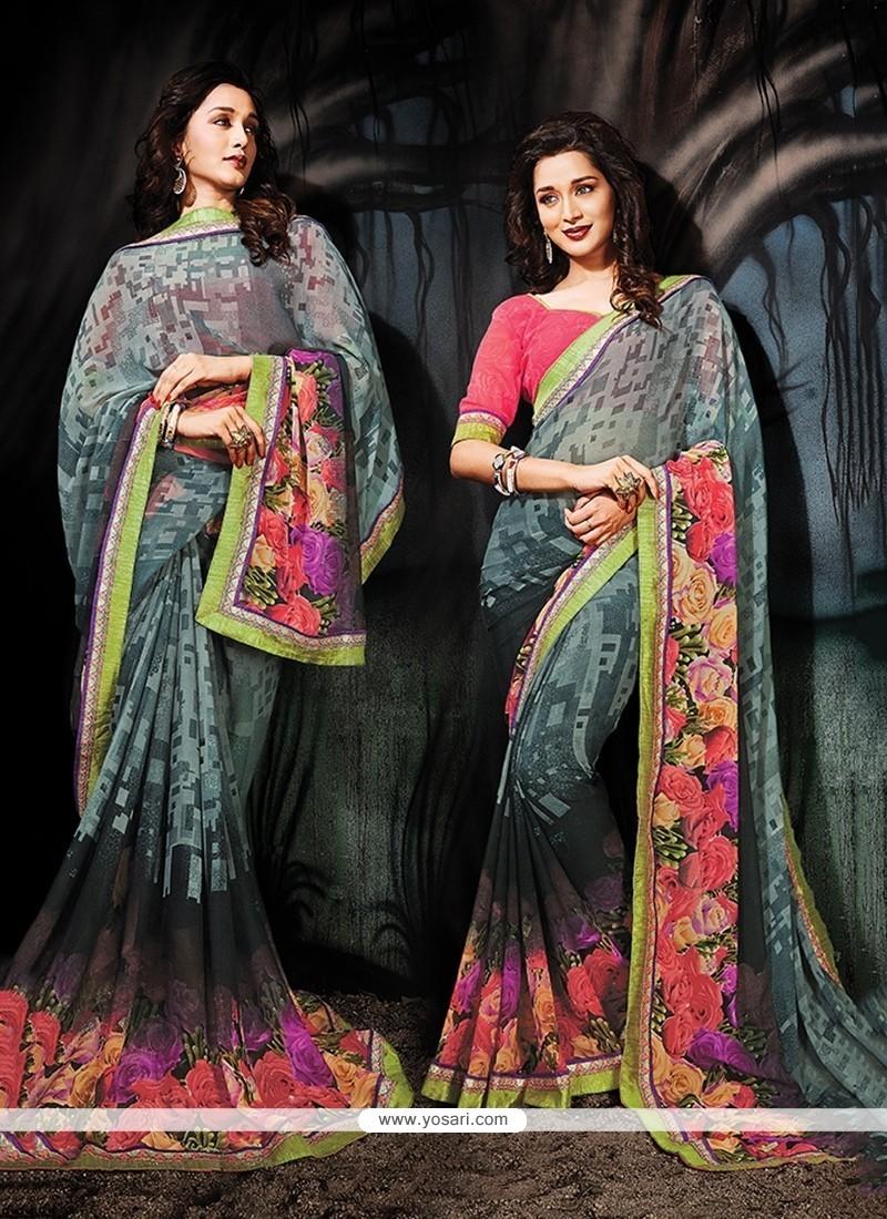 Enticing Multi Colour Printed Saree