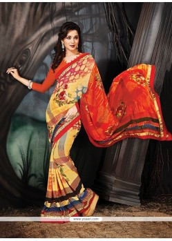 Mystical Multi Colour Georgette Printed Saree