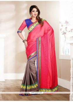 Dazzling Pink And Brown Cotton Saree