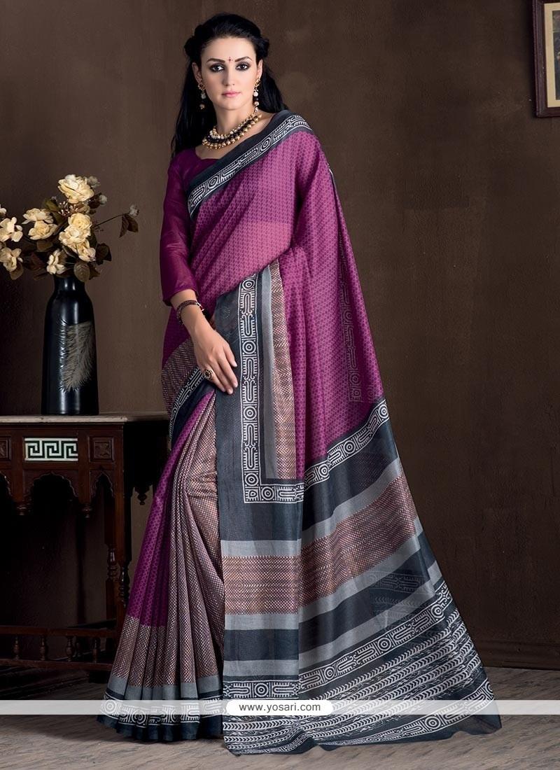 Princely Bhagalpuri Silk Magenta Print Work Casual Saree