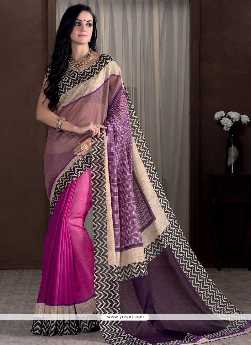 Subtle Hot Pink Print Work Bhagalpuri Silk Casual Saree